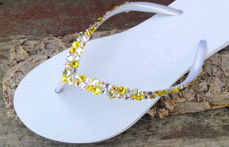 4b4daaae60e440 White Yellow Havaianas Slim Flip Flops Custom w  Swarovski