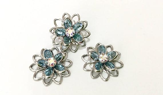 15mm Flower Earrings Swarovski Sterling Silver or Hypo Titanium Stud Filigree Light Azore Ice Blue AB Floral Rhinestone Piercing Ladies Gift