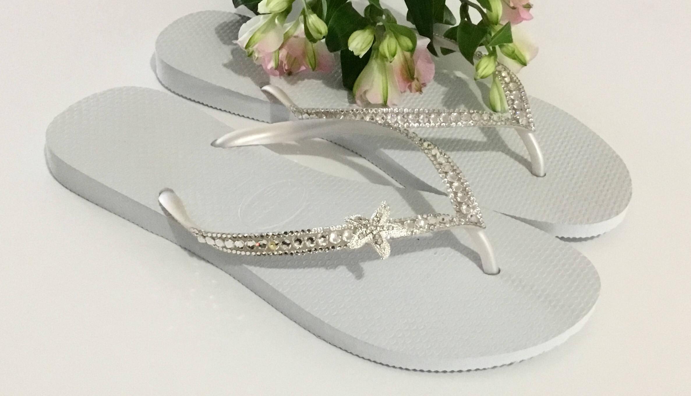 362caf15f613 Custom Crystal Havaianas Slim White flip flops Silver starfish ocean ...