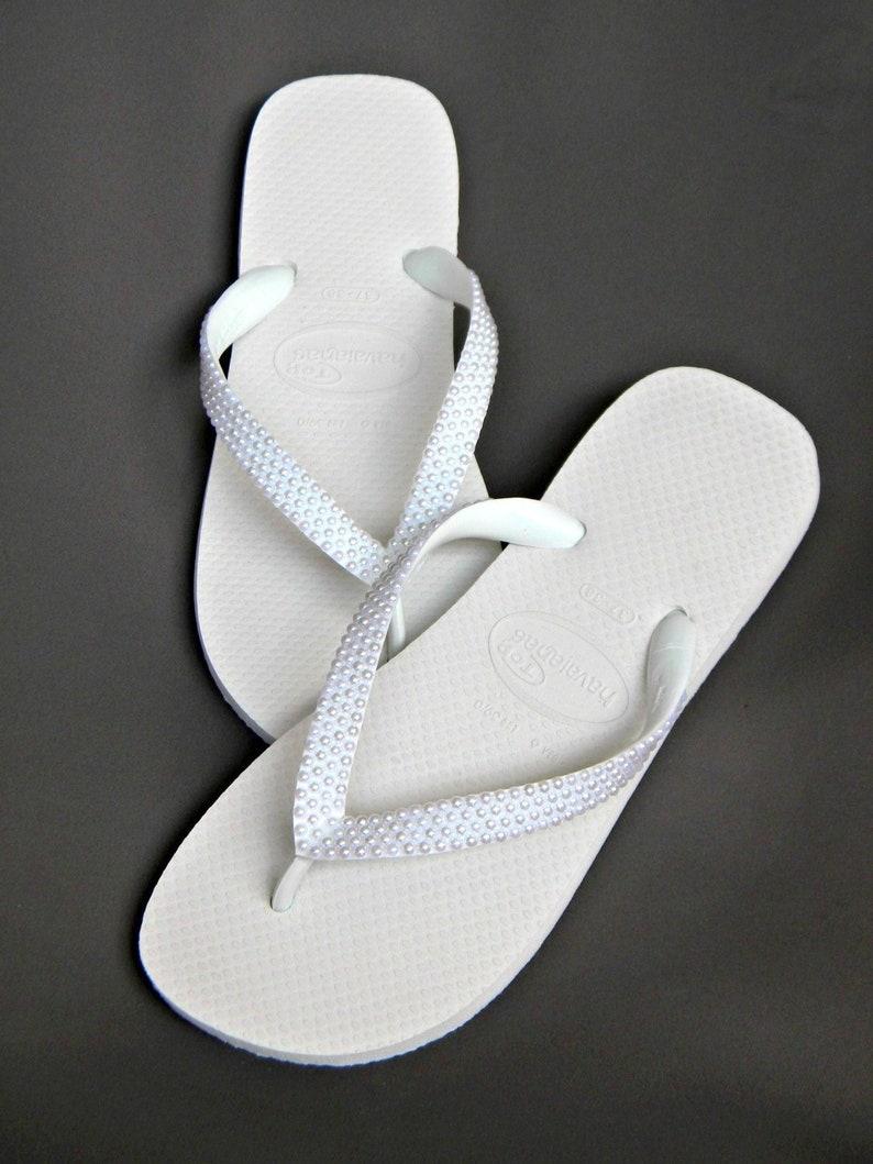 1a1261384aca4d Custom Havaianas flat Flip Flops w  Pearls or Wedge heel w