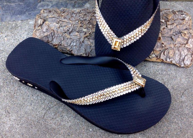 35ae8648778e0 Gold Crystal Flip Flops White Black sandals High Society Glass Slippers w   Swarovski Havaianas or Cariris Wedge Heel Beach Thong Bling Shoes