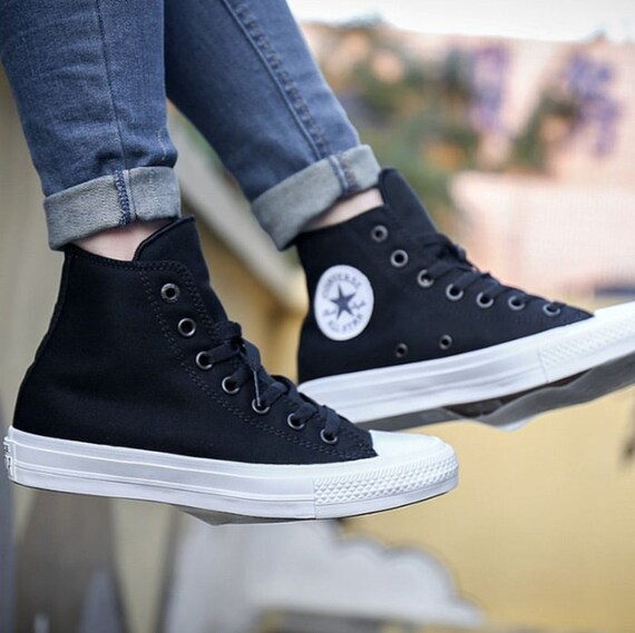 Black Converse High Top Chuck Taylor II Monochrome Canvas Custom Bling Kicks w/ Swarovski Crystal Rhinestones All Star Wedding Sneaker Shoe
