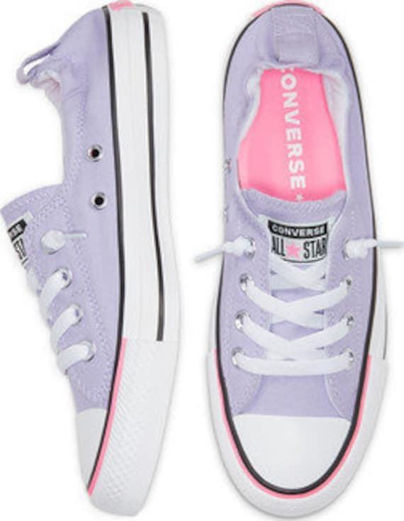 Purple Converse Shoreline Slip on Violet Moonstone Pink Lilac w/ Swarovski Crystal Rhinestone Bling Chuck Taylor Bride Wedding Sneaker Shoes