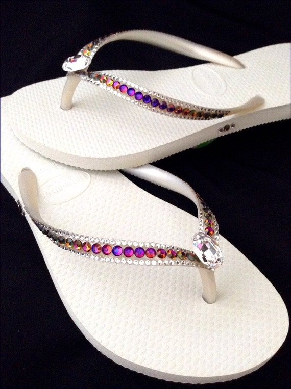 Custom Crystal Havaianas Slim Flip Flops Volcano Rainbow w/Swarovski Rhinestone Jewel Pride Sophisticate Rocks by Glass Slippers Black Shoes