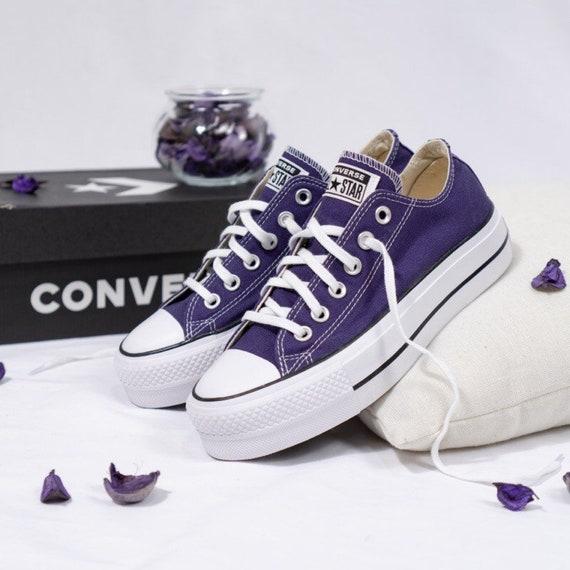 "Purple Converse 1.5"" Platform lift heel wedge Eggplant Peel Low Top Club Shoe w/ Swarovski Crystal Rhinestone Chuck All Star Wedding Sneaker"