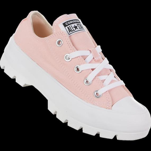 Pink Platform Converse Lugged Low Top Boot Canvas Wedge Club Kicks w/ Swarovski Crystal Bling Rhinestone Chuck Taylor All Star Sneakers Shoe