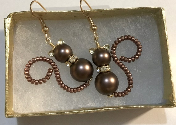 Chocolate Brown Pearl Cat Earrings Silver Gold Pendant Charm Swarovski Crystal Kitten Drop Dangle Titanium Hypo Halloween Costume Fur Gifts