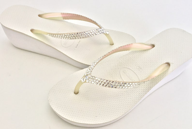 57cf8b7e7153b Black White Wedding Flip Flops Heel Havaianas 2.4 Wedge w