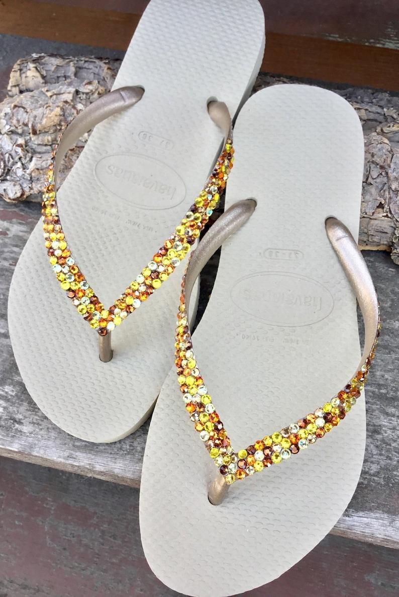 bf346a55221c07 Gold Havaianas Slim Autumn Rainbow Crystal Flip Flops w