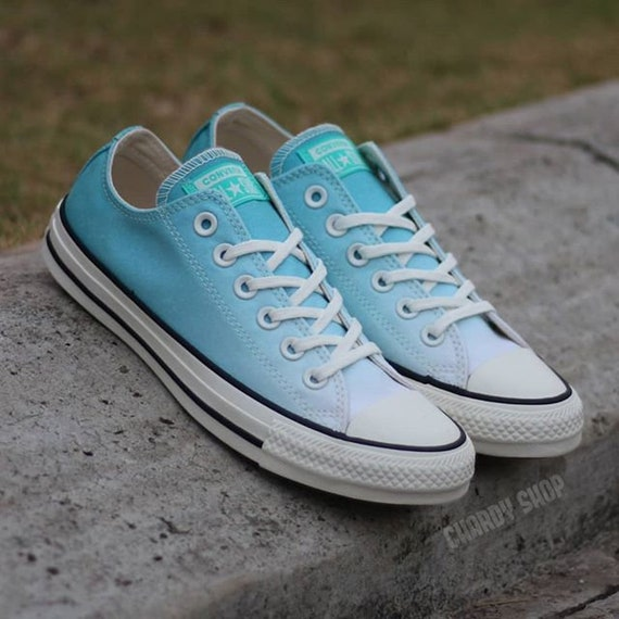 Teal Blue Converse Low Ombre wash Turquoise Aqua Canvas w/ Swarovski Crystal Chuck Taylor Rhinestone All Star Wedding Sneakers Bridal Shoe