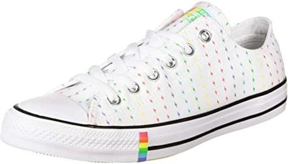 Gay Pride Converse Low Rainbow All Star Mens Ladies Custom LGTBQ w/ Swarovski Crystal Rhinestone Bling Chuck Taylor Wedding Sneakers Shoes