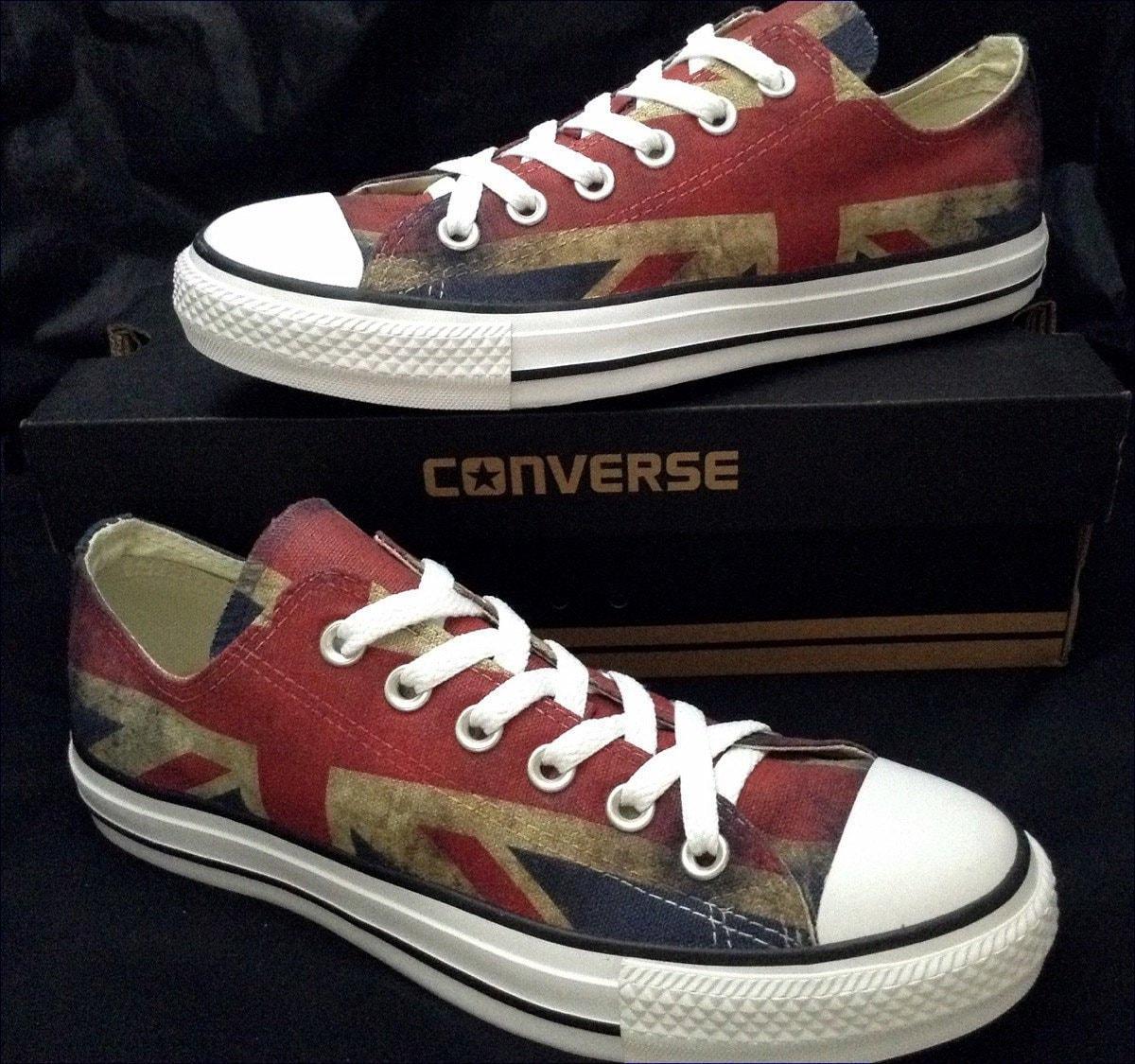 24df507a0caf UK Ladies Mens British Flag Union Jack Custom Print Chucks Distressed Low  Top Kicks w  Swarovski Crystal Rhinestone Bling Sneakers Shoes
