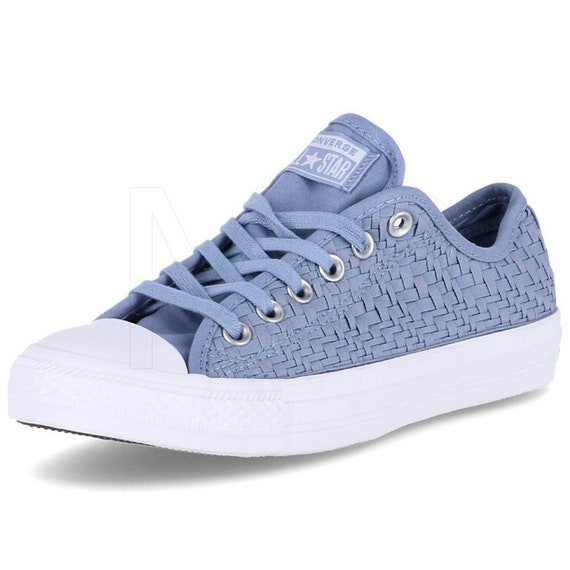 Blue lace Converse Weave Crochet Knit Low Mono Bride w/ Swarovski Crystal Chucks Rhinestone All Star Reception Bridal Wedding Sneaker Shoe