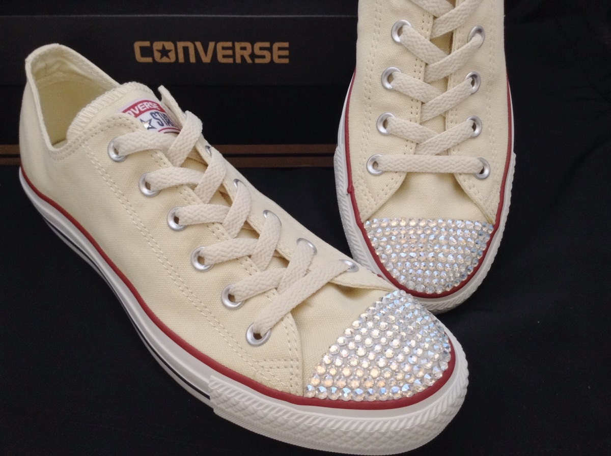 0ab6ebc4beaa Cream Ivory Converse Low Top Canvas Beige Off White Bridal w  Swarovski  Crystal Rhinestone.Chuck Taylor All Star Bride Wedding Sneakers Shoe