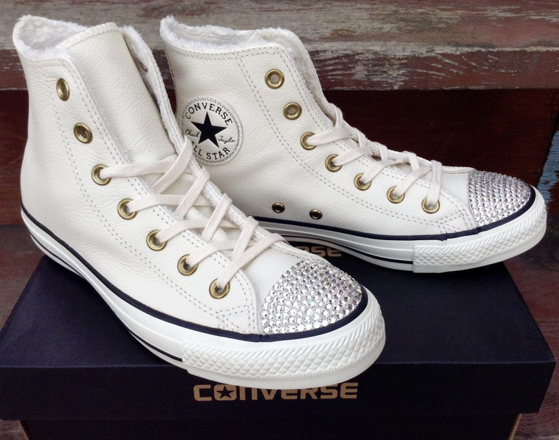 5c7ee38351b White Converse Leather Boot High Tops Fur Lined W US 8 Ivory Bone w   Swarovski Crystal Bling Chuck Taylor All Star Wedding Sneakers Shoes