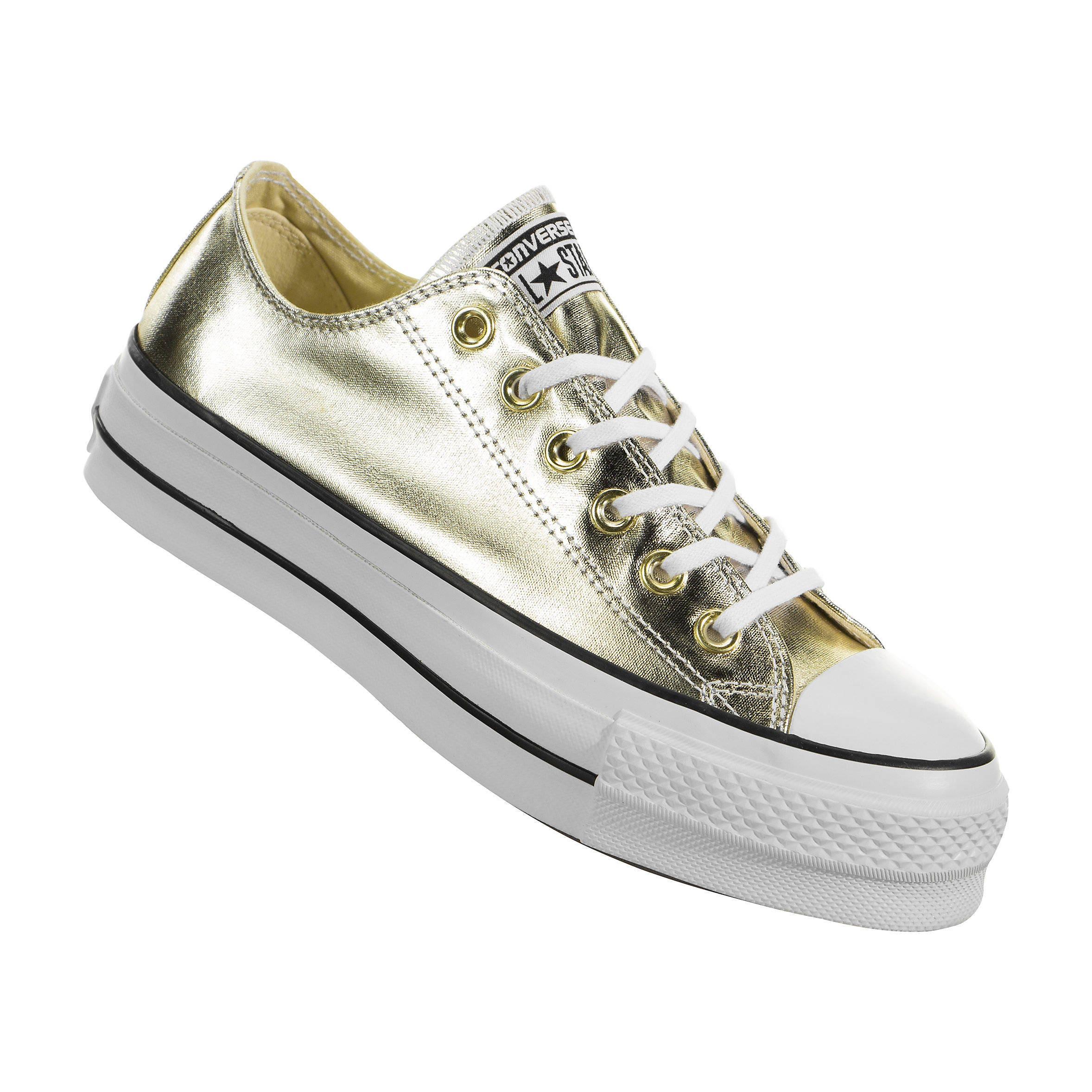 1f2e1a3b6566c9 Gold Platform Converse heel wedge Metallic Lift Low Top Club