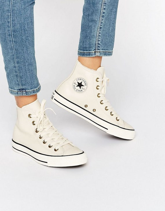 2d2020cc5b47d Blanc cuir Converse Boot hauts sommets fourrure doublé US W 8 OS Ivoire w /  cristal Swarovski Bling Chuck Taylor All Star mariage baskets chaussures