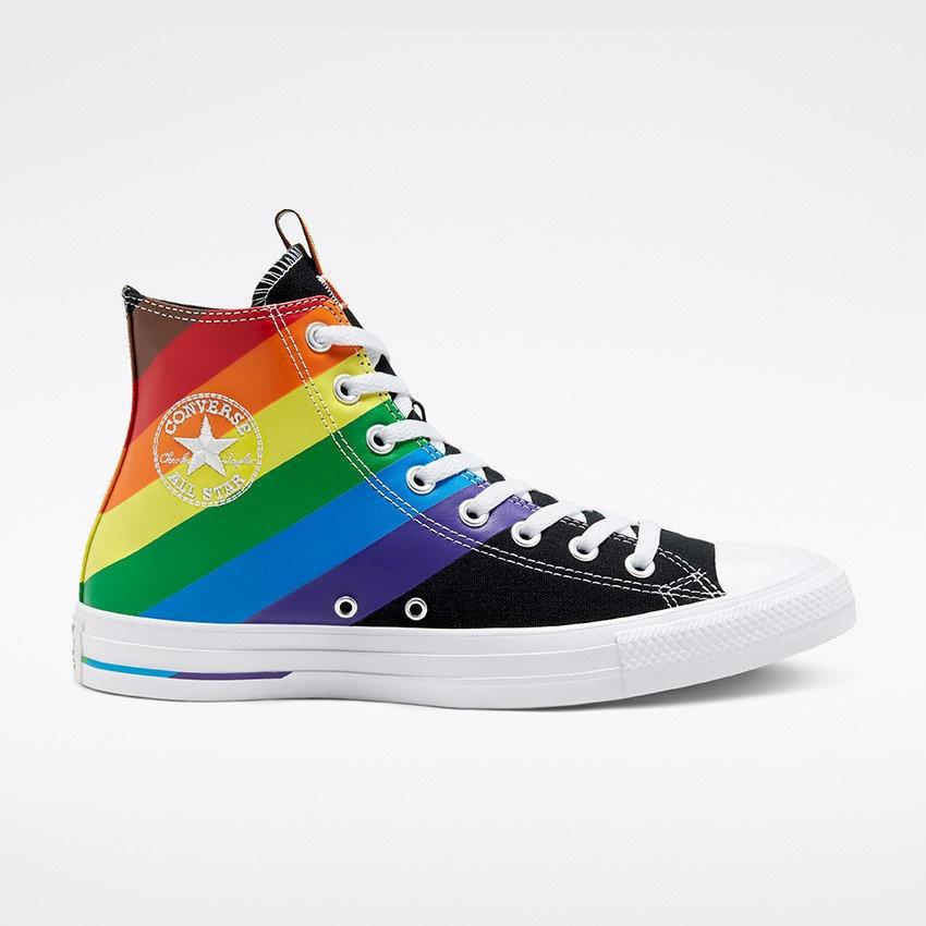 Black Converse Pride 2020 High Top LGBTQ Gay Rainbow Collector Mens Chuck Taylor Custom w/ Swarovski Crystal Bling All Star Sneakers Shoes