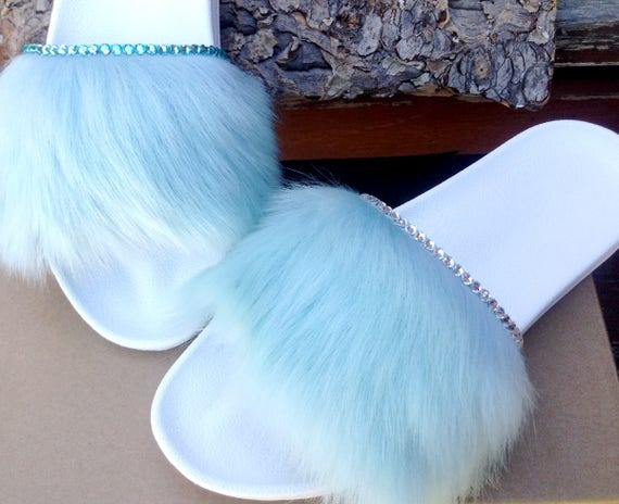 Custom Crystal UGG W US size 8 Royale Blue Aqua White Toscana Fur Slide Slipper w/ Swarovski Rhinestone Jewel Wedding Flip Flop Slip On Shoe