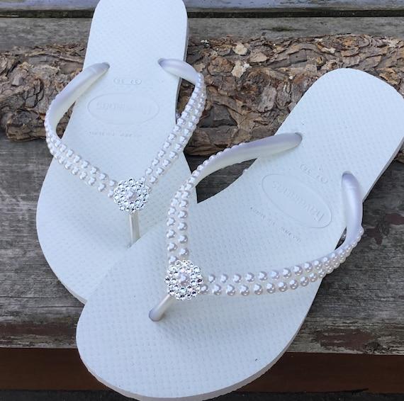 7b7789092be White Pearl Havaianas Slim Flip Flops Bridal Crystal Rose