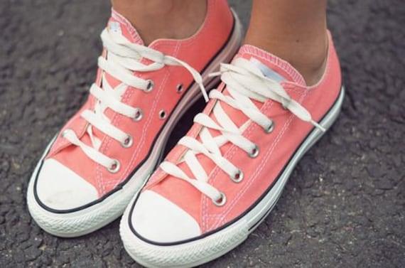 Coral Punch Pink Converse Low Top Peach Blush Apricot Melon Custom w/ Swarovski Crystal Chucks Taylor All Star Bridal Wedding Sneakers Shoes