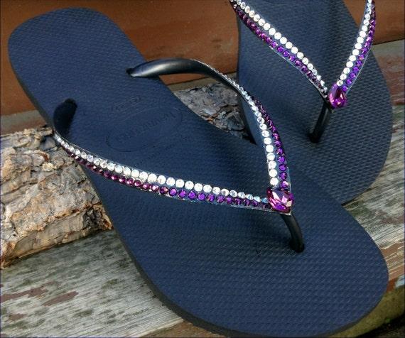 Havaianas Slim flat Flip Flops Custom Purple Amethyst Moonlight Cream w/ Vintage Swarovski Teardrop Rhinestone Bling Wedding Sandals Shoes