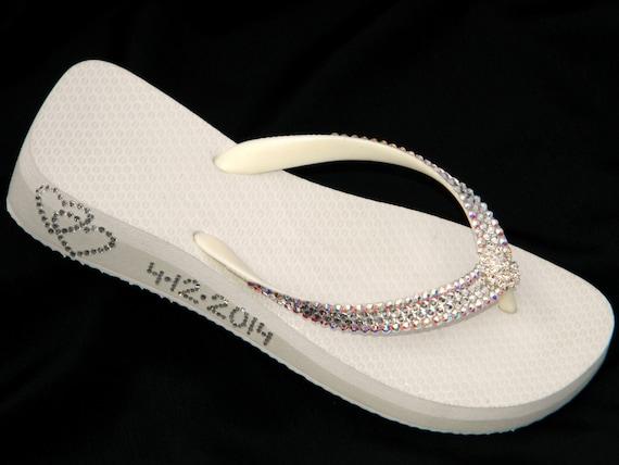 Wedding Flip Flops Personalized Glass Slippers w/ Swarovski Crystal Beach Havaianas Flat Cariris Wedge Double Heart Date Bling Bridal Shoe
