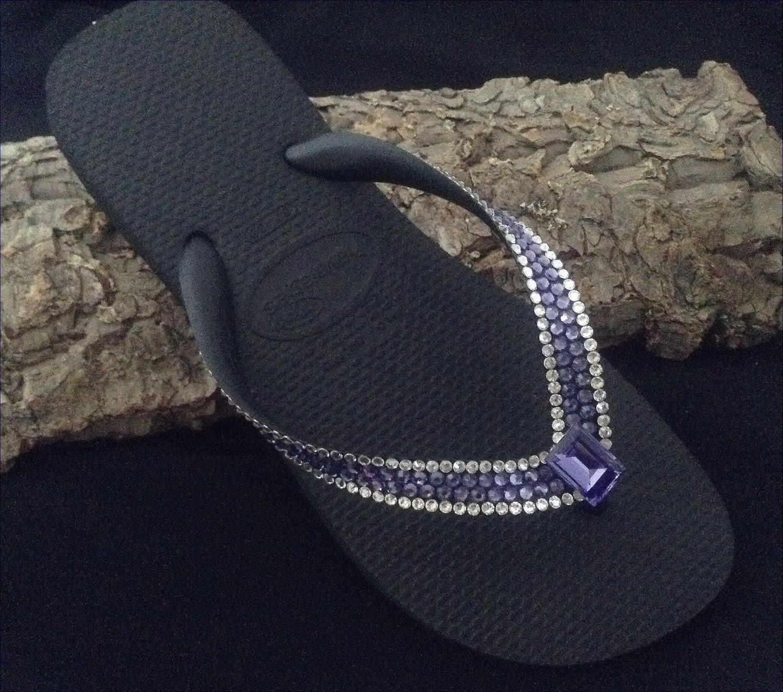 97b8272cab659 Purple Crystal Flip Flops Custom Bling w  Swarovski Rhinestone Jewel Blue  Tanzanite Havaianas flat or Wedge Heel Beach Thong wedding Shoes