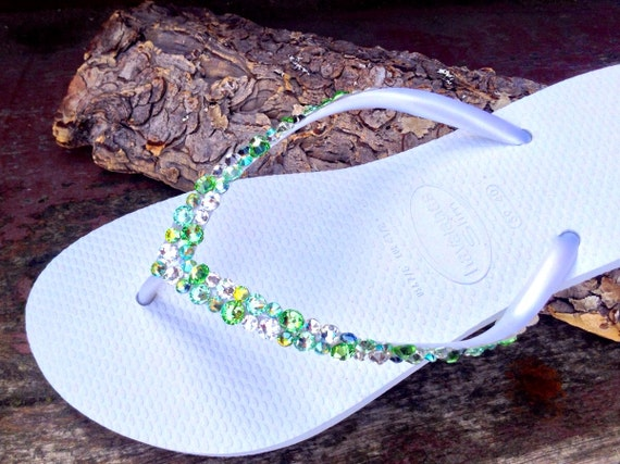 White Havaianas Slim Flip Flops Custom Green w/ Swarovski Crystal Rhinestone Sea Glass Slipper Beach Wedding Bling Peridot Jewel Bridal shoe