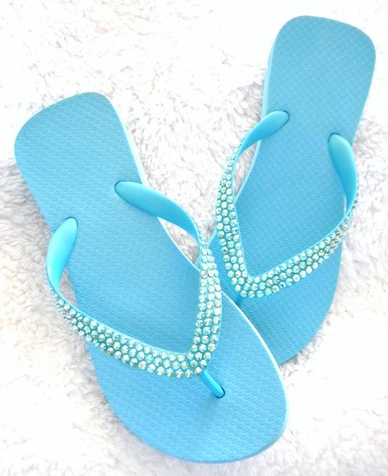 9da522ed7c866 Baby Blue Flip Flops Sky Aquamarine Custom Crystal Wedge Heels 1.5