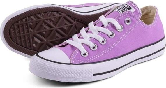Purple Converse Low Chuck Taylor Fuchsia Glow Orchid Lavender Lilac Bride Sneakers w/ Swarovski Crystal Rhinestones All Star Wedding Shoes