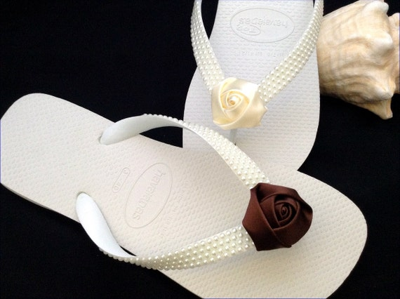 Custom Pearl Flip Flops Satin Rose Bud Beach Bride Wedding Flower Girl Bridesmaid White Havaianas flat or Cream Cariris 1.5 Wedge Heel Shoes