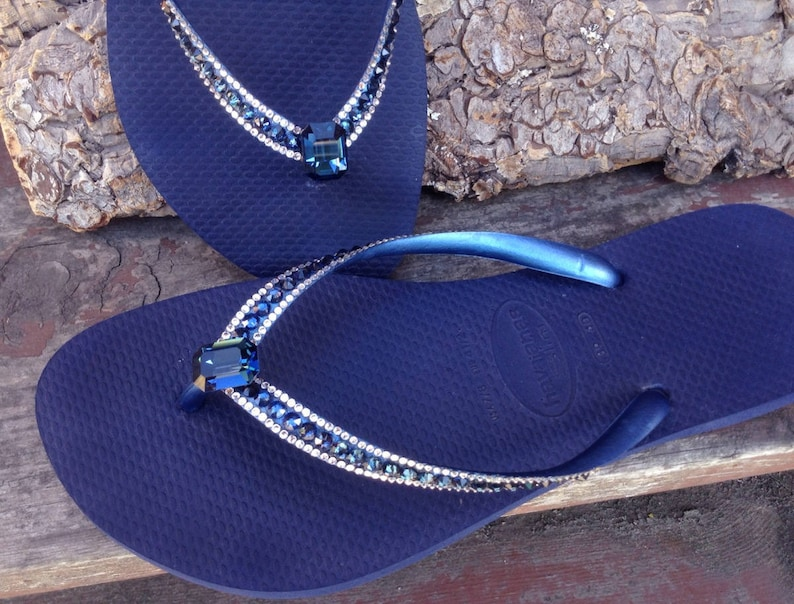 59a745335496 Blue Flip Flops Crystal Havaianas Slim Navy Montana Ocean Sea w  Swarovski  Baguette Sophisticate Wedding Sandal Jewel Rhinestone Beach Shoes