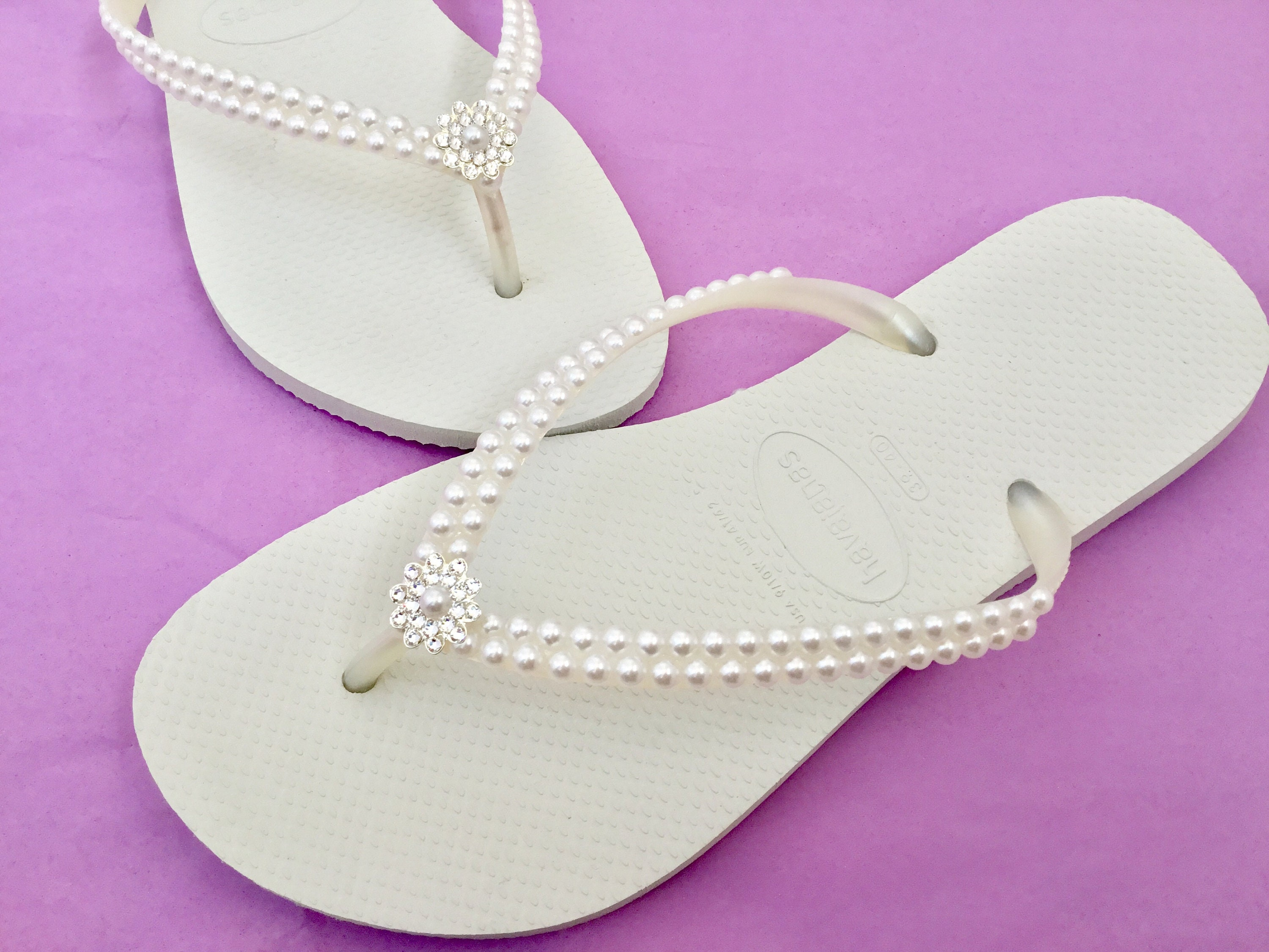 1a90276f4 White Pearl Havaianas Slim Flip Flops Bridal Crystal Rose w Swarovski  Rhinestone Bling Bride Silver BridesMaid Beach Wedding shoes