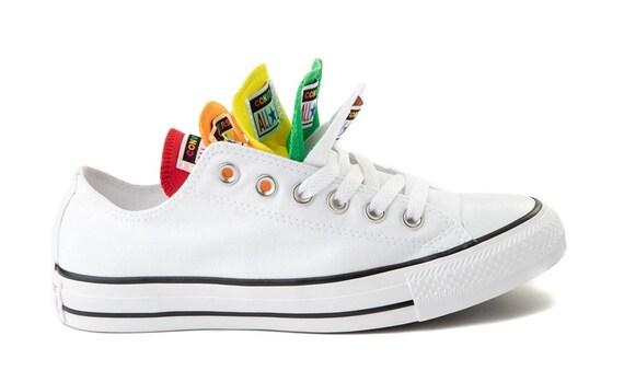 White Rainbow Converse Low Top Pride Multicolor Canvas w/ Swarovski Crystal Chuck Taylor Rhinestone Bride Bridal Wedding Sneakers Shoes