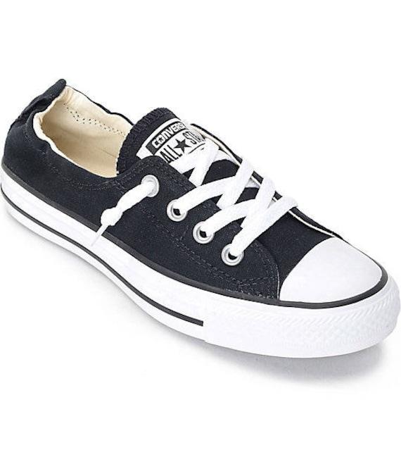 Black Converse Shoreline Slip ons Ladies Boat Kicks w/ Swarovski Crystal Rhinestone Bling Wedding Bride Chuck Taylor All Star Sneakers Shoes