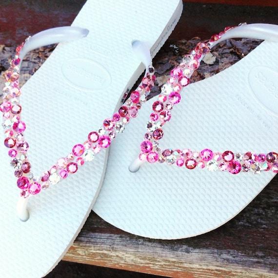 11794cb04e1b83 White Pink Flip Flops Rose Crystal Havaianas Slim w  Swarovski