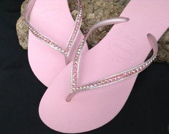 c2f7d7ae8a7ea7 Pink Flip Flops Blush Crush Slim Havaianas Custom Bling Crystal Sophisticate  Glass Slippers w  Swarovski