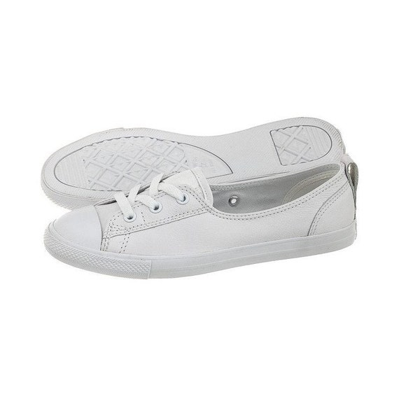 White Leather Converse Slip On Low Top Ballet Lace Wedding Bridal Shoes w/ Swarovski Crystal Chuck Taylor Rhinestone All Bride Star Sneakers