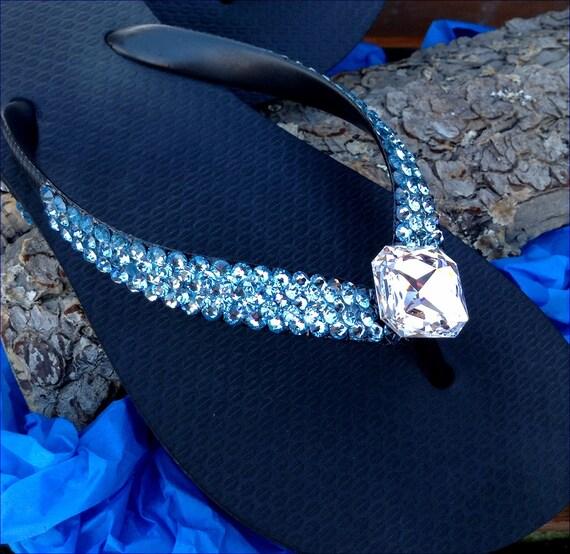 Aqua Blue Custom Crystal Flip Flops w/ Swarovski Jewel 3D Ice Aquamarine Havaianas Flat Cariris Wedge Heel Beach Bride Wedding Slip on Shoes