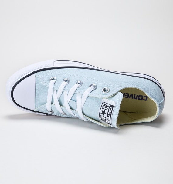 Baby Blue Converse Low Top Wedding Bride Ice Glacier Canvas w/ Swarovski Crystal Rhinestone Bridal Bling Chuck Taylor All Star Sneaker Shoes