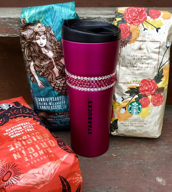 Starbucks Swag w/ Swarovski Fuchsia Magenta Pink Crystal 16 oz Grande Christmas Holiday Stainless Travel Coffee Tea Cup Tumbler Rhinestones