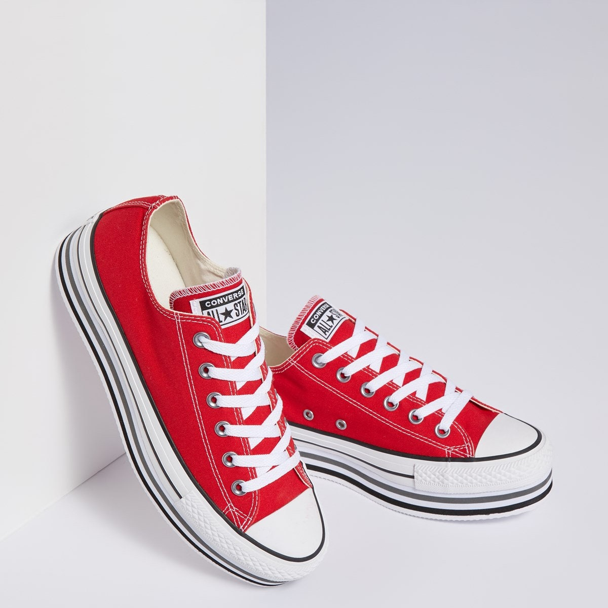 0744ced7f714 Red Converse Platform heels wedge Classic Cherry Lift Canvas Low Top Club  w  Swarovski Crystal Chuck Taylor All Star Wedding Sneakers Shoes