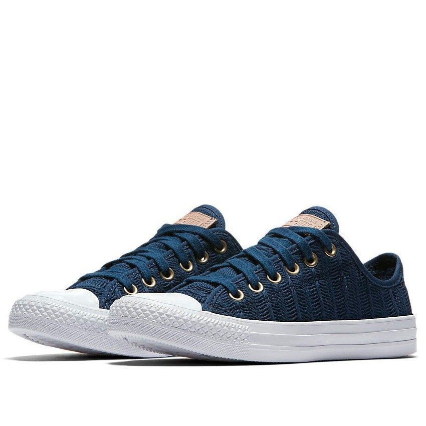 0d8b6eefbd73 Blue Converse Low Top Navy Gold Crochet Lace Knit Herringbone Weave Wedding  Chuck Taylor Bride w  Swarovski Crystal All Star Sneakers Shoes