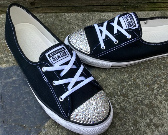 Black Converse Ballet White Low Top Slip Ons Lace Bride Bridal w/ Swarovski Crystal Chuck Taylor Rhinestones All Star Wedding Sneakers Shoes