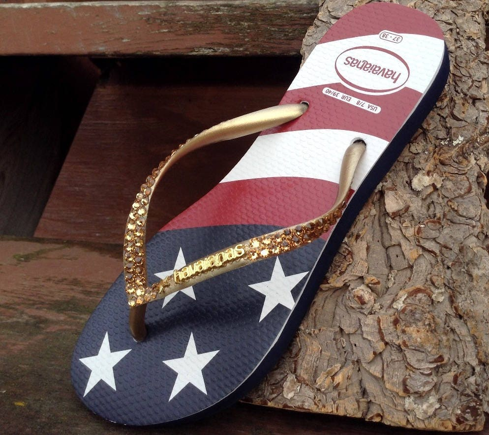 6369fc880 Custom USA Havaianas Slim Crystal Flip Flop w  Swarovski Rhinestone Stars    Stripes Memorial Day Red White Blue July 4 Independence Day Shoe