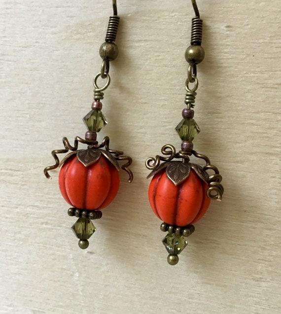 Fall Halloween Pumpkin Earrings Orange Olive Dangle Drop Brass Hook Titanium Hypo w/ Swarovski Crystal Lamp Bead Trick Treat Costume Jewelry