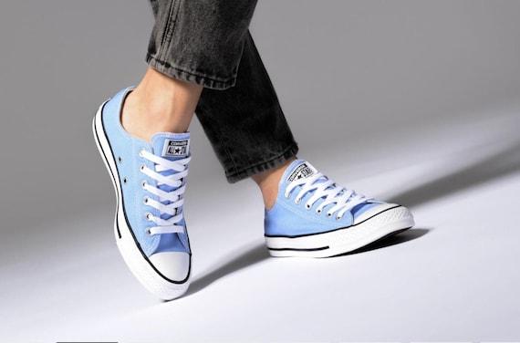 Blue Converse Pioneer Periwinkle Robin Egg Low Top Wedding Bride Bling w Swarovski Crystal Rhinestones Chuck Taylor All Star Sneakers Shoes