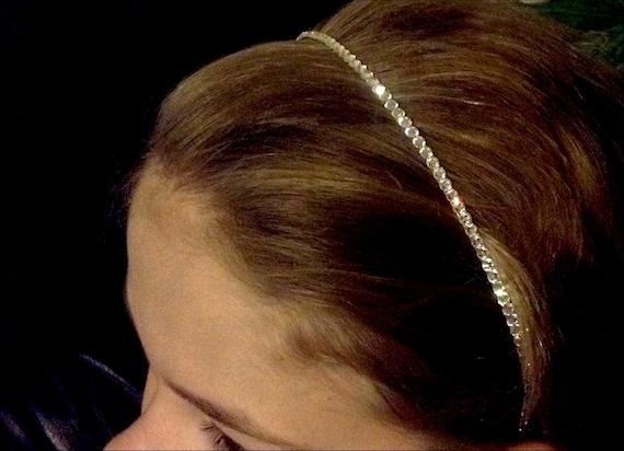 Crystal Hair Head Band w/ Swarovski Jewels Minimalist Pageant Prom Bridal Tiara Comb Headpiece Bling Silver tone Jewelry Wedding Accessory
