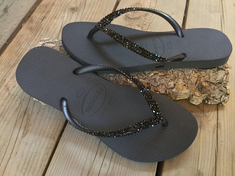 1d97253ed653a1 Custom Black Havaianas Slim or Cariris flat Flip Flops w  Swarovski ...